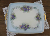 Vintage Hand Painted Handled Vanity Tea Tray with Purple Violets France