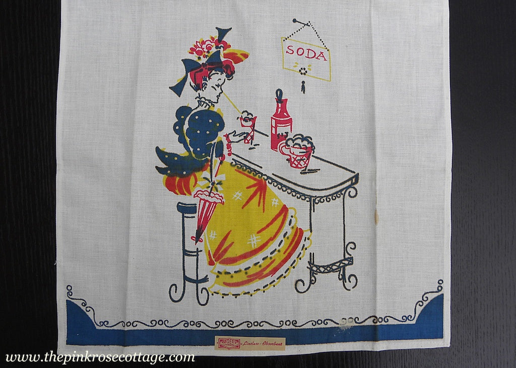 Vintage MWT Broderie Tea Towel Edwardian Woman at Soda Shop