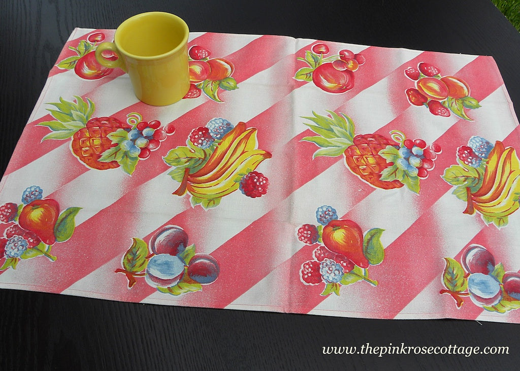 Vintage Colorful Pineapple Bananas Strawberries and More Fruit Tea Kitchen Towel