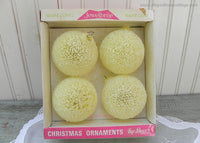 Vintage Jewelbrite Sugar Coat Snowball Christmas Ornaments Yellow