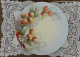 Vintage Hand Painted Plate Strawberries and Strawberry Blossoms