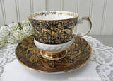 Vintage Elizabethan Black and Gold Chintz Teacup and Saucer