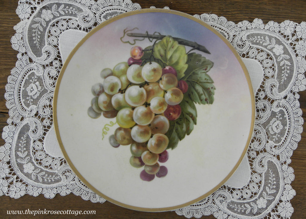 Vintage Hand Painted Bunch of Grapes Plate