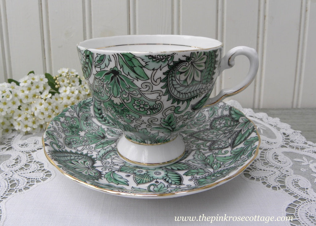 Vintage Royal Tuscan Wedgwood Green Paisley Teacup and Saucer