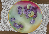 Vintage Hand Painted Purple Cottage Violets Plate