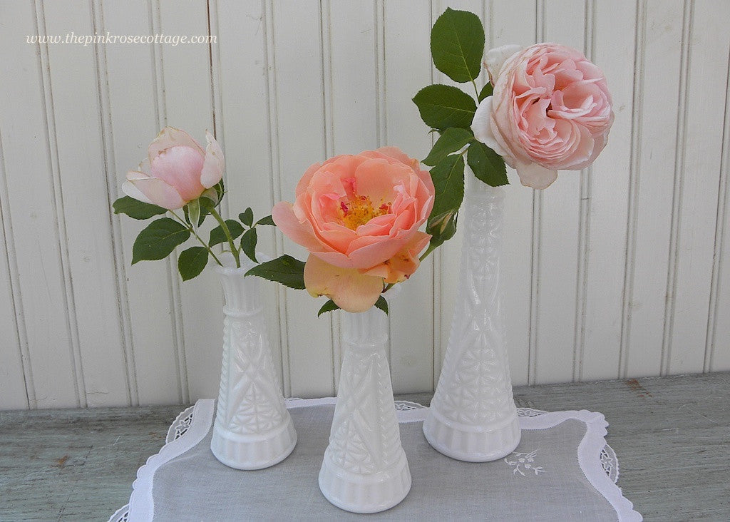 Set of 3 Shabby Chic Vintage Milk Glass Vases