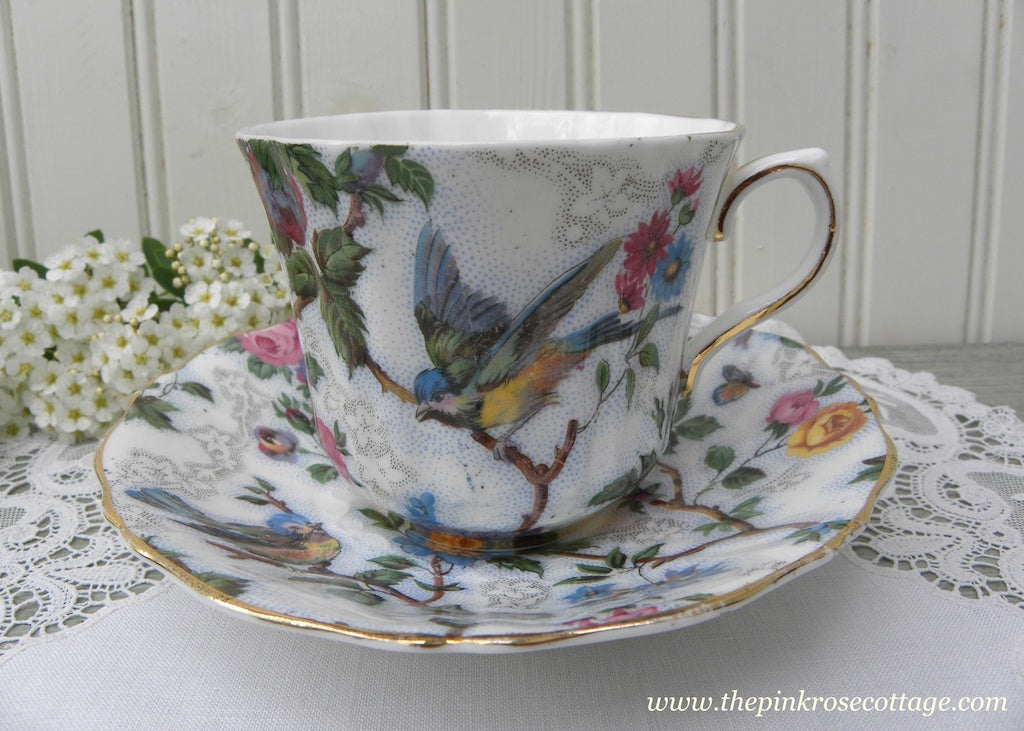 Vintage Old Royal China Lorna Doone Bluebird Chintz Teacup and Saucer