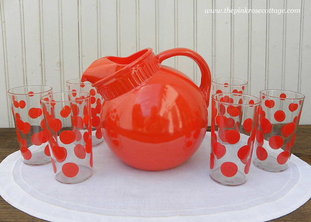 Vintage Anchor Hocking Orange Tilt Ball Pitcher and 6 Polka Dot Glasses