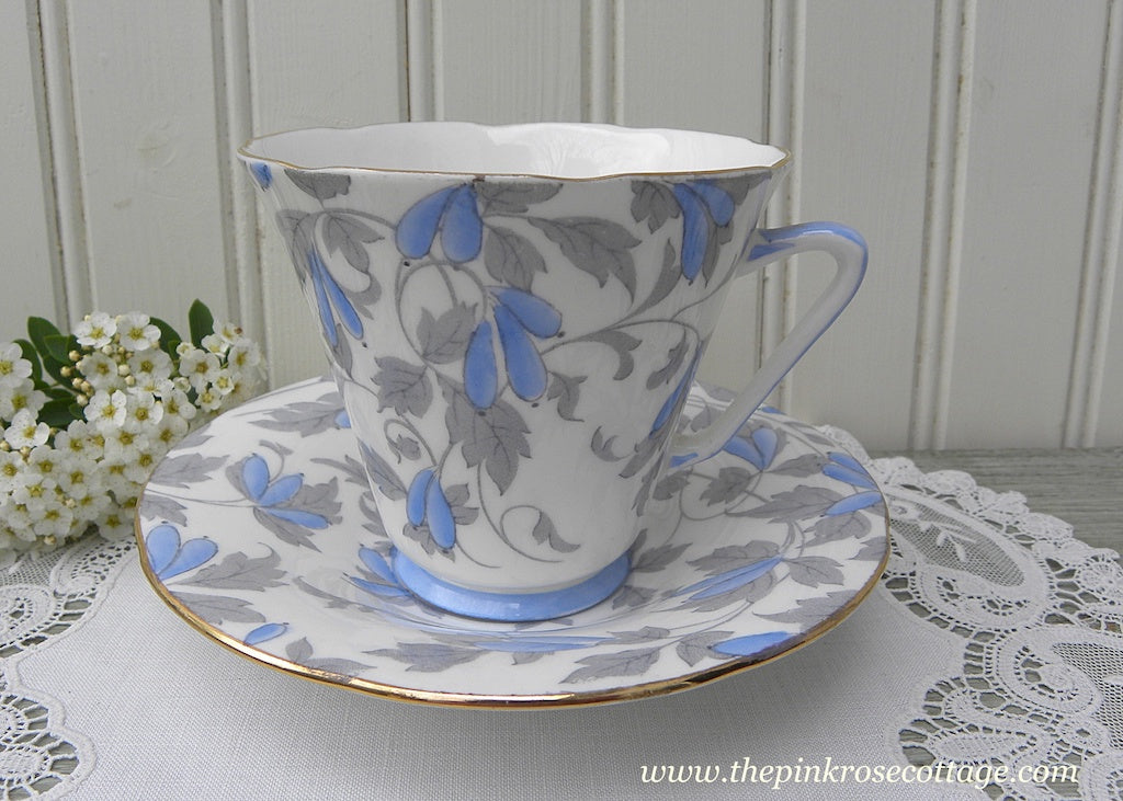 Vintage Royal Grafton Blue and Gray Ashley Teacup and Saucer