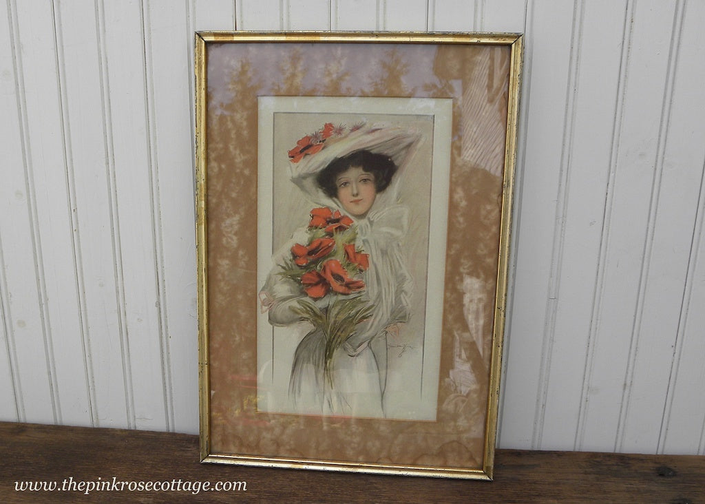 1906 Antique  Framed Hamilton King Print Edwardian Woman and Poppies