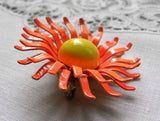 Vintage Sunburst Enameled Orange Daisy Pin