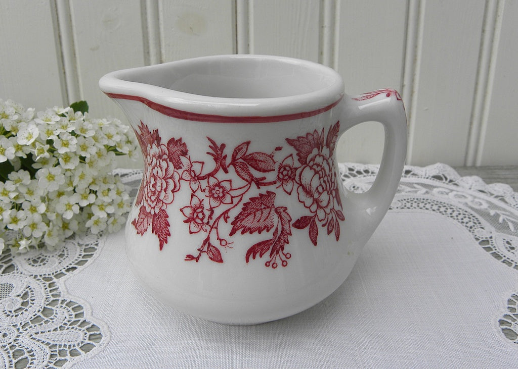 Vintage Jackson China Red and White Restaurantware Creamer