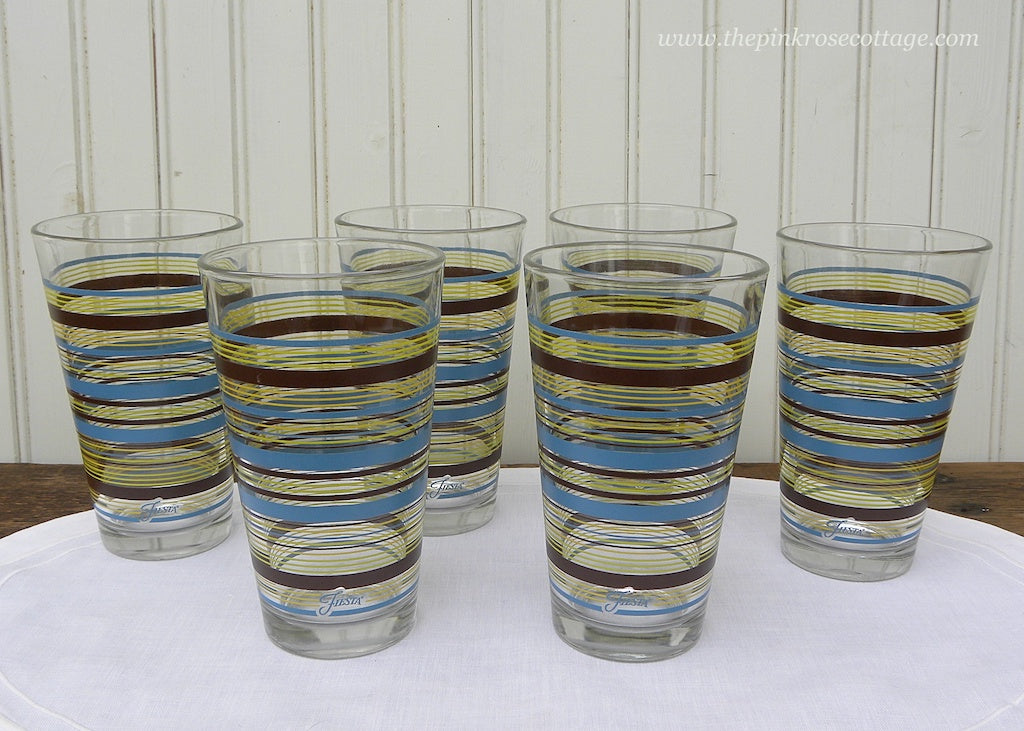 Set of 6 Fiesta Striped Drinking Glasses Chocolate Lemongrass and Peacock