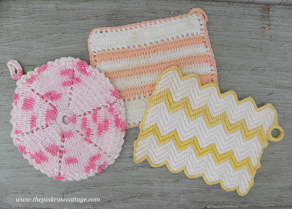 3 Vintage Hand Crocheted Pastel Pot Holders Pink Peach Yellow