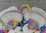 Vintage Hand Crocheted Ruffled Pastel Rainbow Potholder