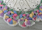 2 Vintage Hand Crocheted Pastel Pansies Pansy Doilies Doily
