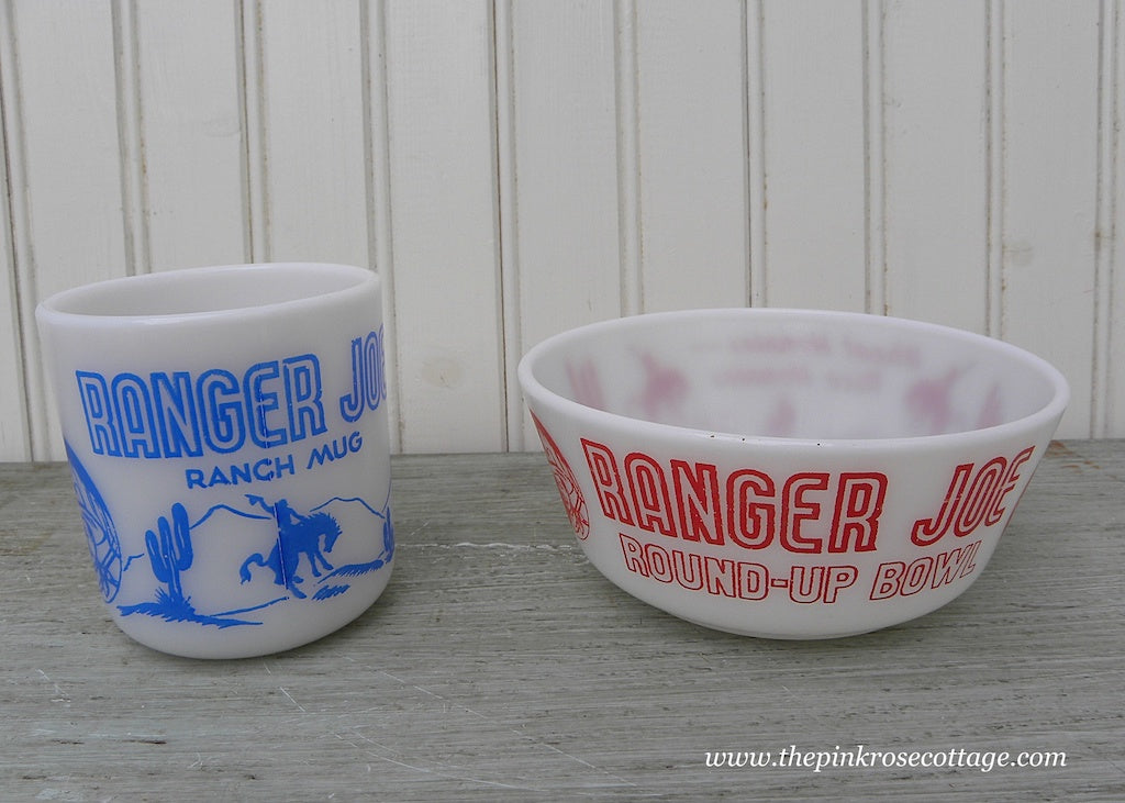 Vintage Hazel Atlas Children's Ranger Joe Cowboy Mug and Bowl