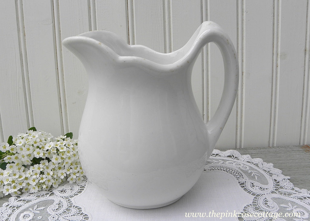 Vintage Jackson China Ironstone White Pitcher