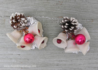 Vintage Christmas Bell Pinecone Floral Picks