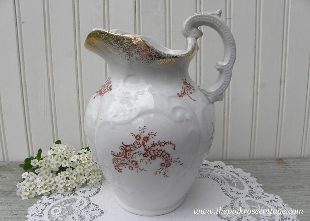 Antique Wyoming Ironstone Brown Floral Transferware Pitcher - The Pink Rose Cottage