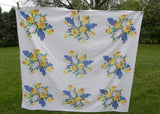 Vintage Tagged Wilendur Daffodils and Blue and White Hyacinths Tablecloth