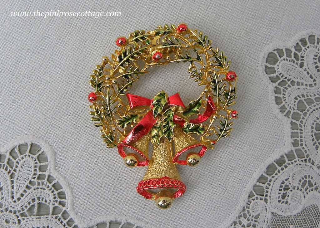 Vintage Christmas Holly Wreath with Bells Brooch Pin