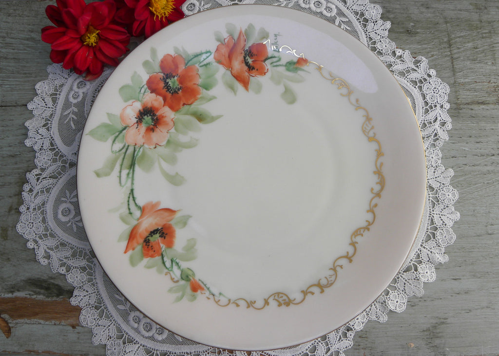 Vintage Hand Painted and Signed Deep Orange Poppies Plate
