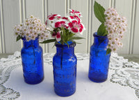 Set of 3 Antique Emerson Drug Company Cobalt Blue Pill Bottles for Little Vases - The Pink Rose Cottage