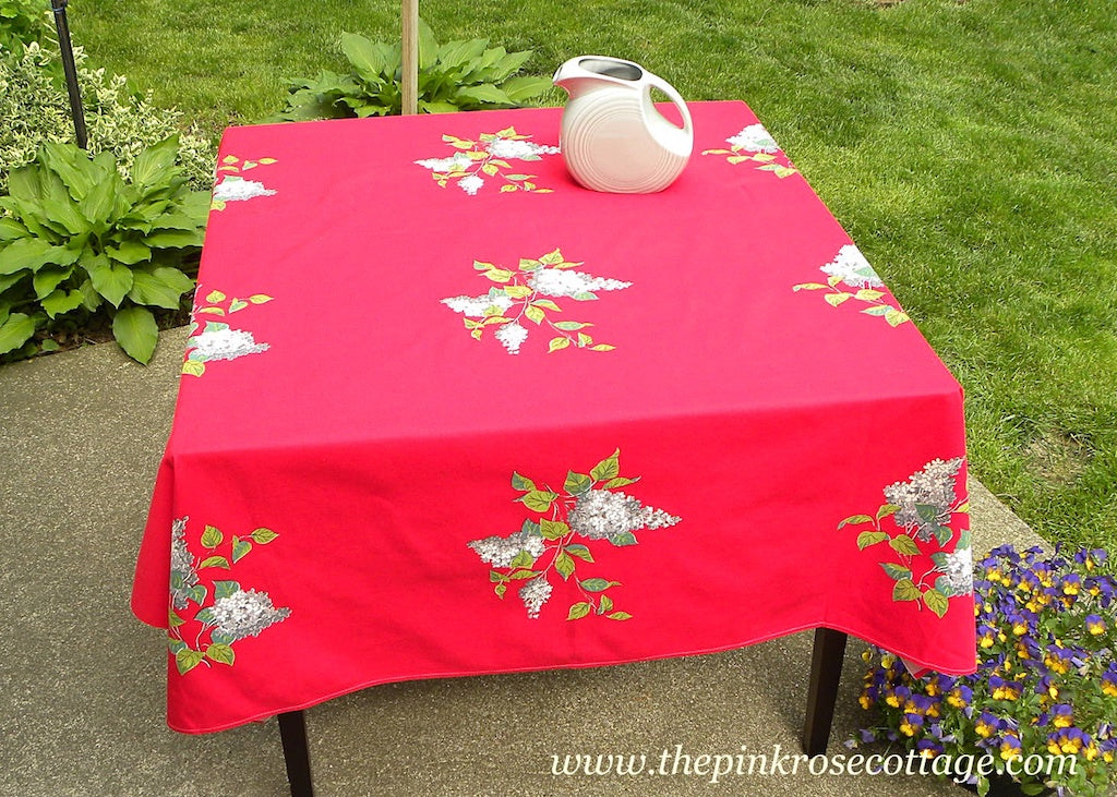 Large Vintage Red Wilendur Wilendure with Gray and White Lilacs Tablecloth - The Pink Rose Cottage