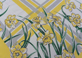 Vintage Yellow Daffodils with Gray and Yellow Stripes Tablecloth