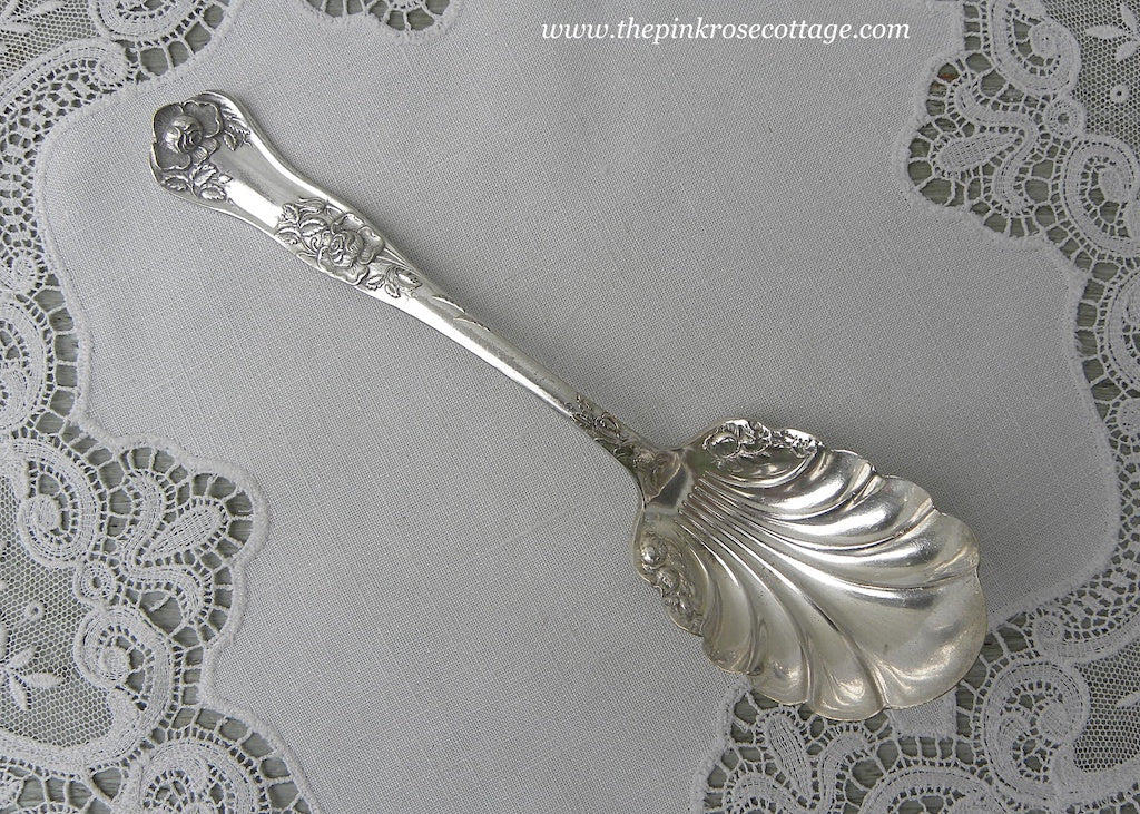 Antique 1900 Royal Plate Co. Rosalie Beauty Rose  Shelled Sugar Spoon