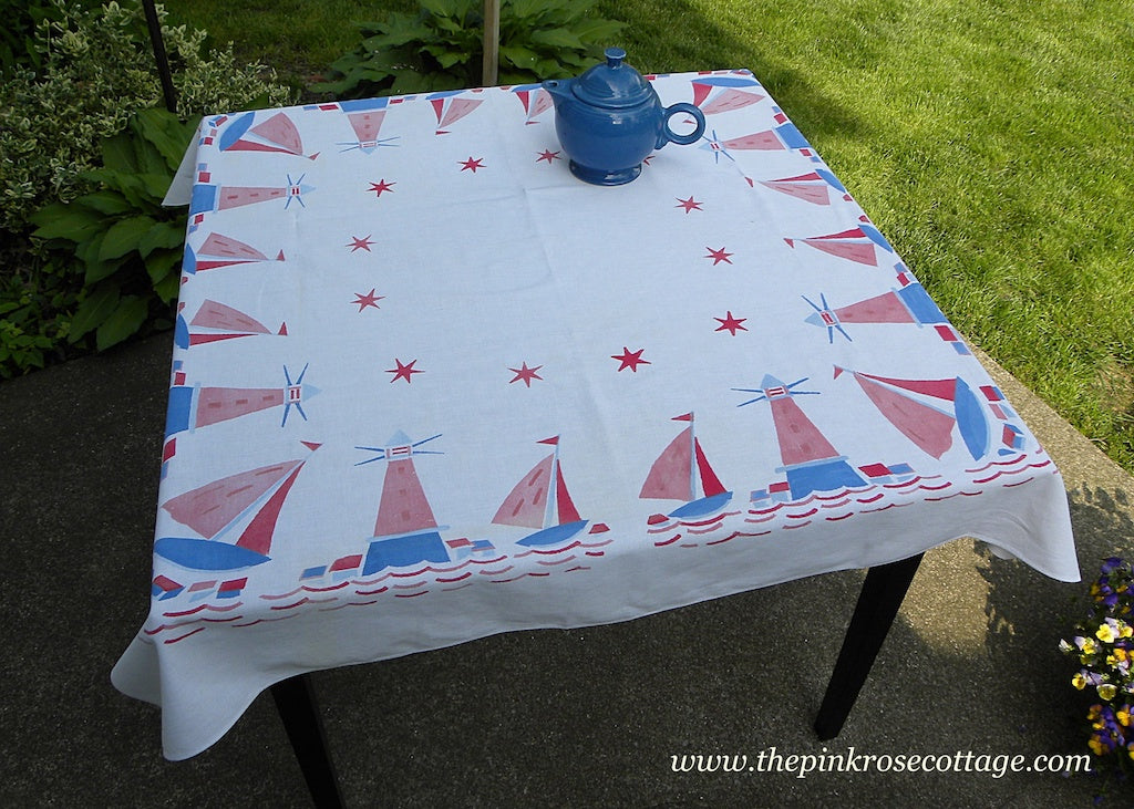 Vintage Red White and Blue Sail Boat and Light House Tablecloth