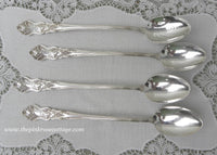 Set of 4 Rare Antique American Silver Moselle Grapes Iced Tea Spoons