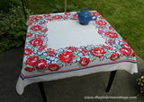 Vintage Tablecloth Red White Blue and Jadite Green Roses and Hydrangeas