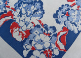 Vintage Springmaid Red White and Blue Geranium Tablecloth