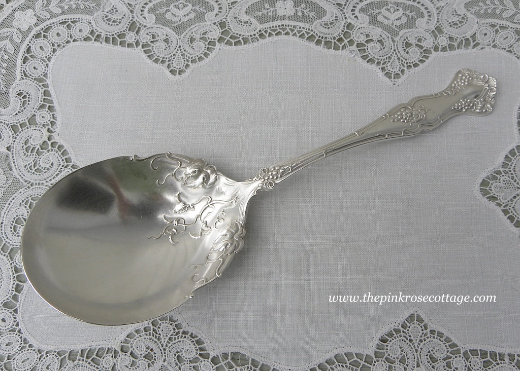 Antique 1847 Rogers Silverplate Vintage Grapes Berry Serving Spoon