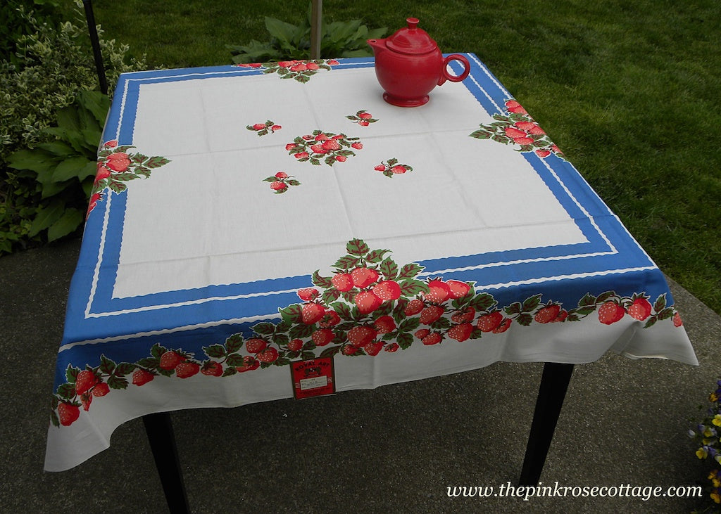 Vintage MWT Royal Art Strawberries Strawberry with Blue Tablecloth