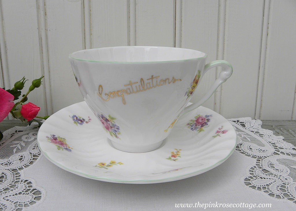 Vintage Princess Ann Congratulations Pink Rose and Wild Flowers Teacup and Saucer