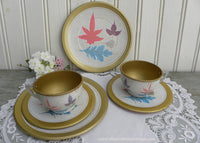 Vintage 1950's Children's Tin Play Dishes Teacup and Saucers