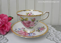 Vintage Pink Rose and Forget-Me-Nots Teacup and Saucer