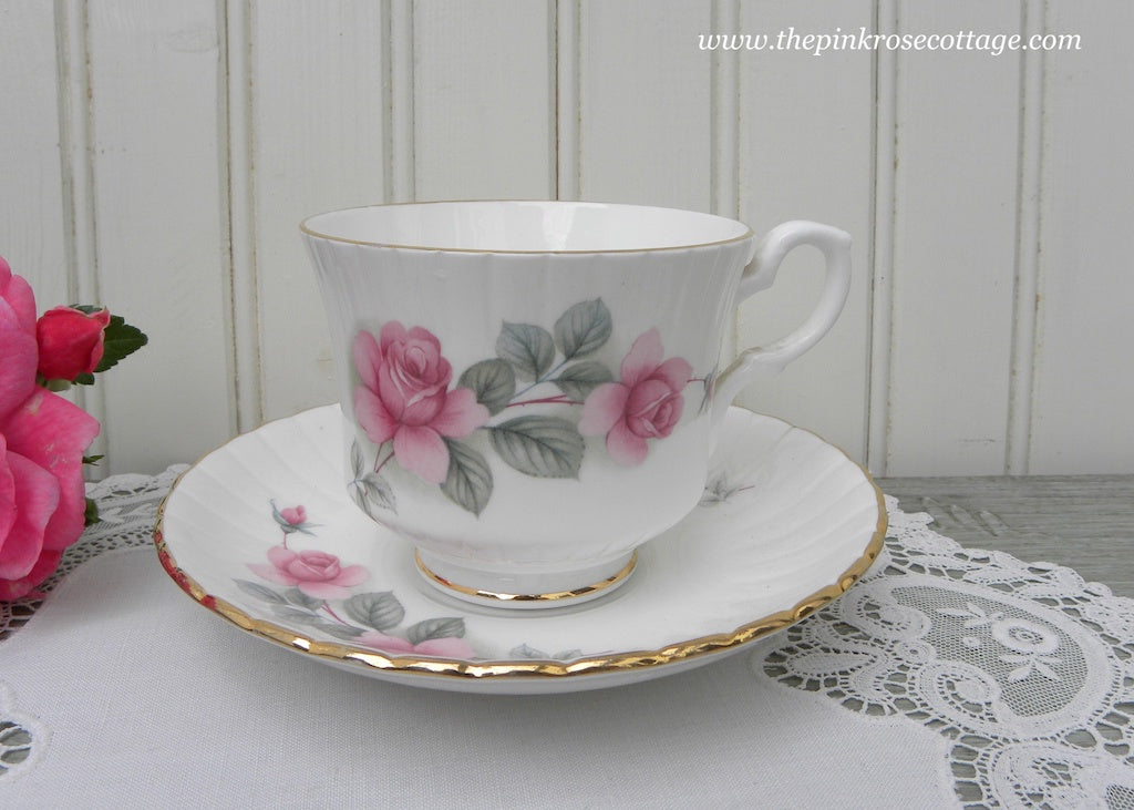 Vintage Royal Standard Pink Roses Teacup and Saucer
