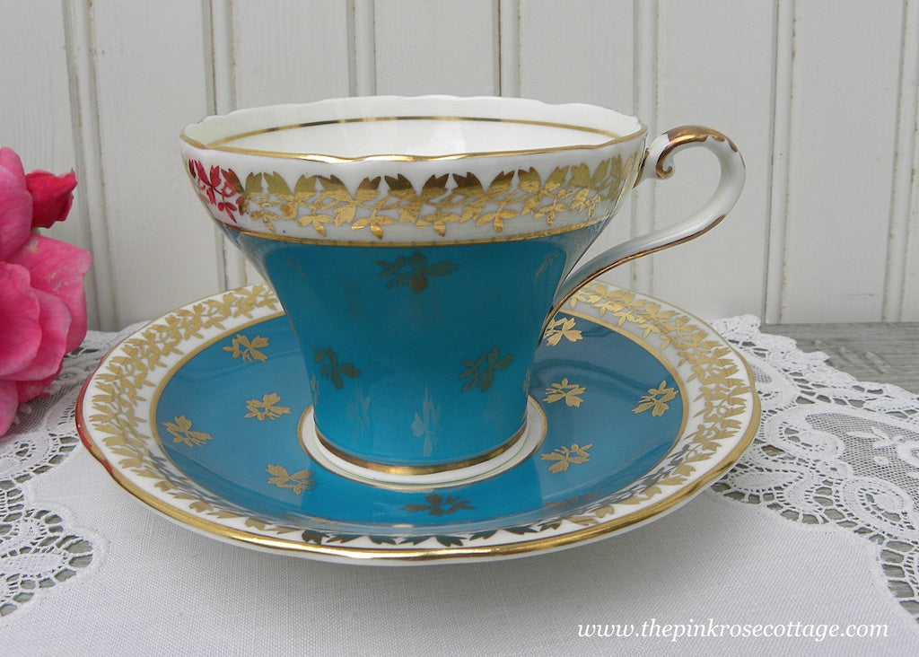 Vintage Ansyley Teal Blue Corset Teacup and Saucer with Gold Accents