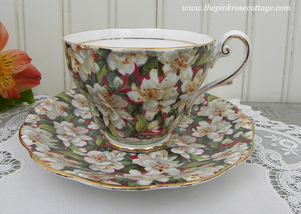 Vintage Royal Standard Peach Tree Blossoms Chintz Teacup and Saucer