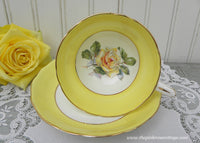 Vintage Hammersley Yellow Pink Rose Teacup and Saucer