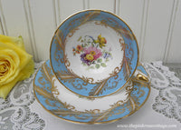 Vintage Paragon Blue Teacup and Saucer with Wild Flowers