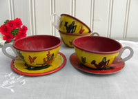Vintage Ohio Art Children's Tin Gardening Puppy and Kitten Teacup and Saucers