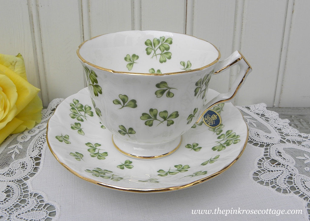 Vintage Tagged Aynsley St Patrick's Shamrock Teacup and Saucer