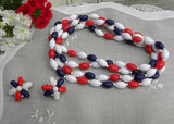 Extra Long Vintage Red White and Blue Patriotic Necklace with Earring - The Pink Rose Cottage