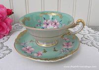 Vintage German Royal Bayreauth Teal with Pink Blossom Demitasse Teacup