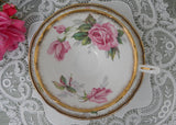 Vintage Royal Stafford Berkeley Rose Pink Roses and Gold Teacup and Saucer